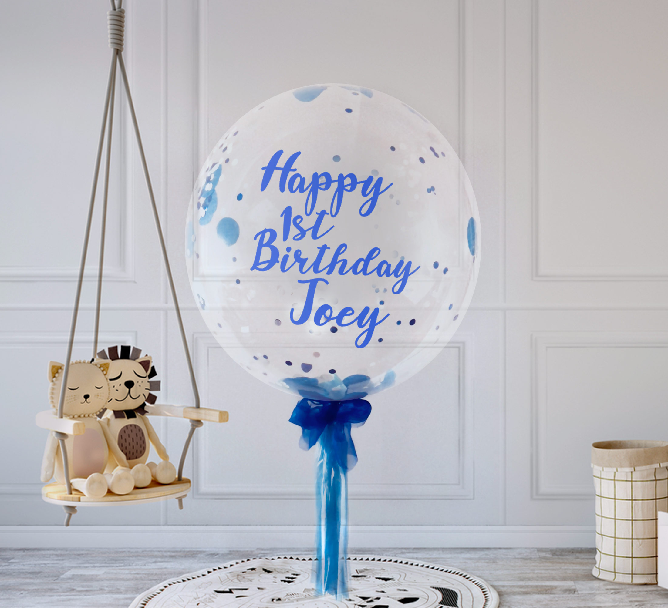 Personalised Boys First Birthday Card Bubbles By August: Personalised 1st Birthday Confetti Bubble - Boys