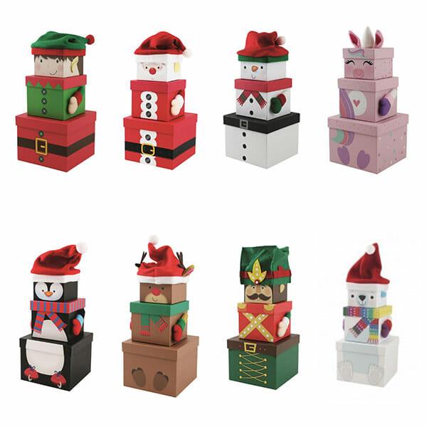 Christmas plush stack boxes